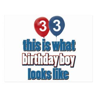 33rd year old birthday designs postcard