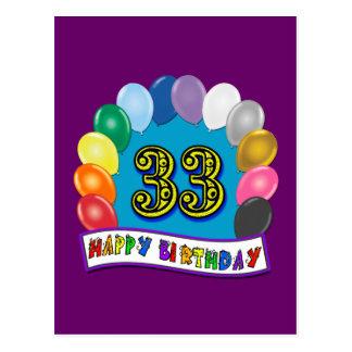 33ro Diseño de los globos del cumpleaños Tarjetas Postales
