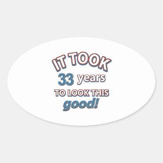 33ro diseños años del cumpleaños colcomanias oval