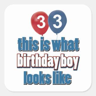 33ro diseños años del cumpleaños pegatinas cuadradases personalizadas