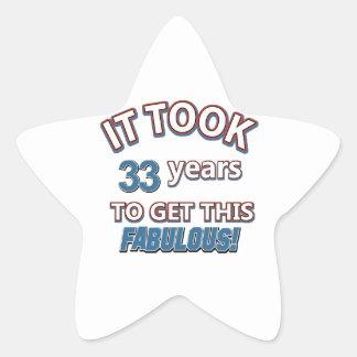 33ro diseños del cumpleaños del año pegatina forma de estrella