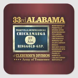 33ro Infantería de Alabama (BA2) Pegatina Cuadrada