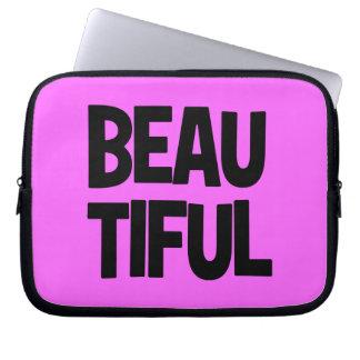 340__beautiful-word-art COMPLIMENTS ATTITUDE FASHI Laptop Computer Sleeve