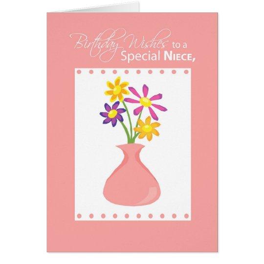 3414 Niece Birthday Flowers, Religious Card