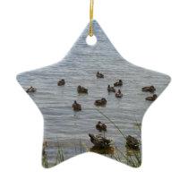 3415 Ducks by grass Ceramic Ornament