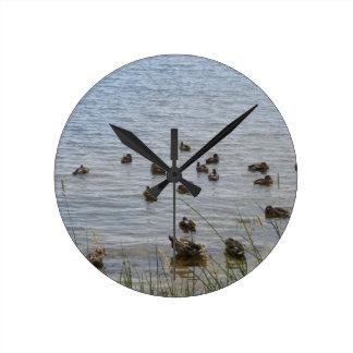 3415 Ducks by grass Round Clock