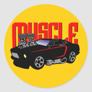 341 Cartoon Muscle Car Classic Round Sticker