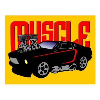 341 Cartoon Muscle Car Postcard