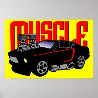 341 Cartoon Muscle Car Poster