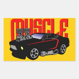 341 Cartoon Muscle Car Rectangular Sticker