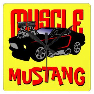 341 Cartoon Muscle Car Square Wall Clock