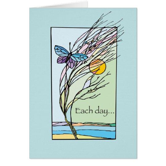 3428 cada mariposa del día tarjeta de felicitación