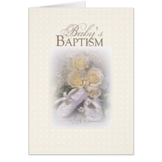 3429 Baby's Baptism Shoes Yellow Roses Card