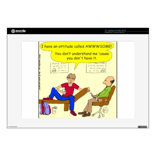 """342 Teens are awesome cartoon 15"""" Laptop Decal"""