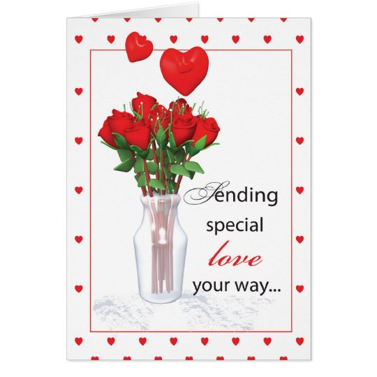 3479 Valentine's Day Red Roses Hearts Card
