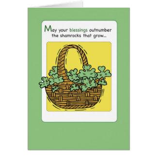 3484 St. Patrick's Day Shamrock Blessings Basket Card