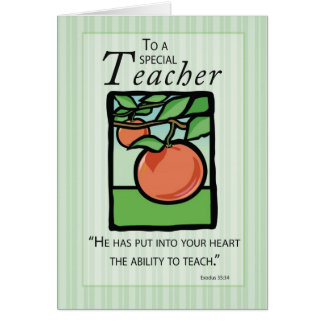 3495 Teacher Thank You, Apple Religious Card