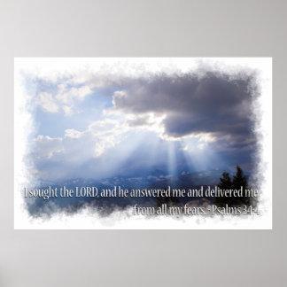 34:4 de los salmos en luz posters