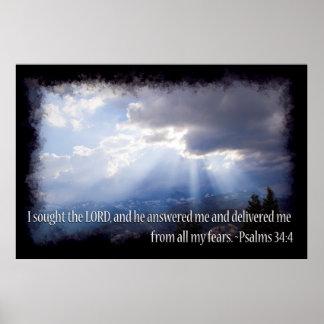 34:4 de los salmos en oscuridad posters
