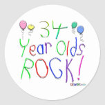 ¡34 años de la roca! pegatinas redondas
