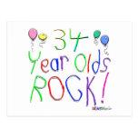 ¡34 años de la roca! tarjeta postal