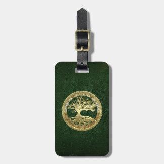 [34] Árbol de la vida céltico de oro Etiquetas Para Equipaje