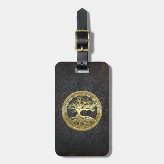 [34] Árbol de la vida céltico de oro Etiquetas Bolsa