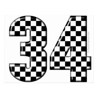 34 auto racing number postcard