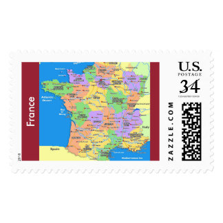 34 Cents US Custom Stamps(France Map) Postage