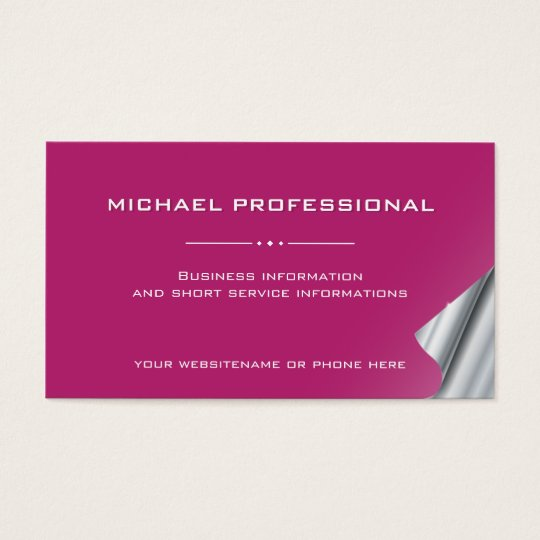 34 Modern Professional Business Card silver pink