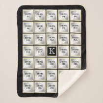 34 Photo Collage, Editable Color, White/Gold Frame Sherpa Blanket