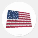34-star flag, Wreath pattern, outliers Round Sticker