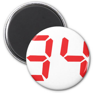 34 thirty-four red alarm clock digital numbr magnets