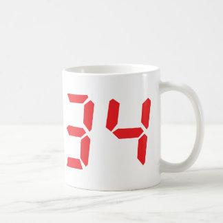 34 thirty-four red alarm clock digital numbr mugs