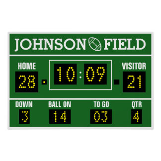 "34"" x 26"" Personalized Football Scoreboard Poster"