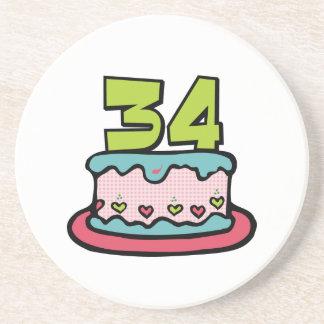 34 Year Old Birthday Cake Drink Coaster
