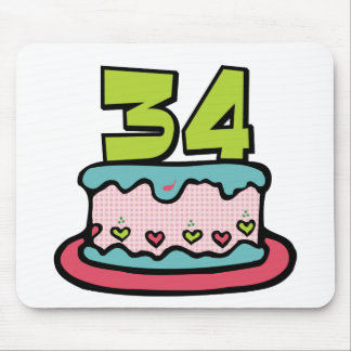 34 Year Old Birthday Cake Mouse Pad