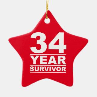 34 year survivor ceramic ornament