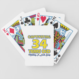 34 YEARS OLD BIRTHDAY DESIGNS BICYCLE PLAYING CARDS