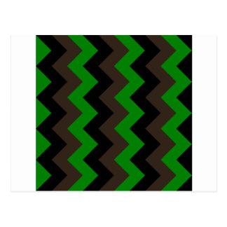 34 - Zigzag I - Negro, Brown y verde Tarjetas Postales