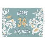 34ta tarjeta de felicitación del cumpleaños