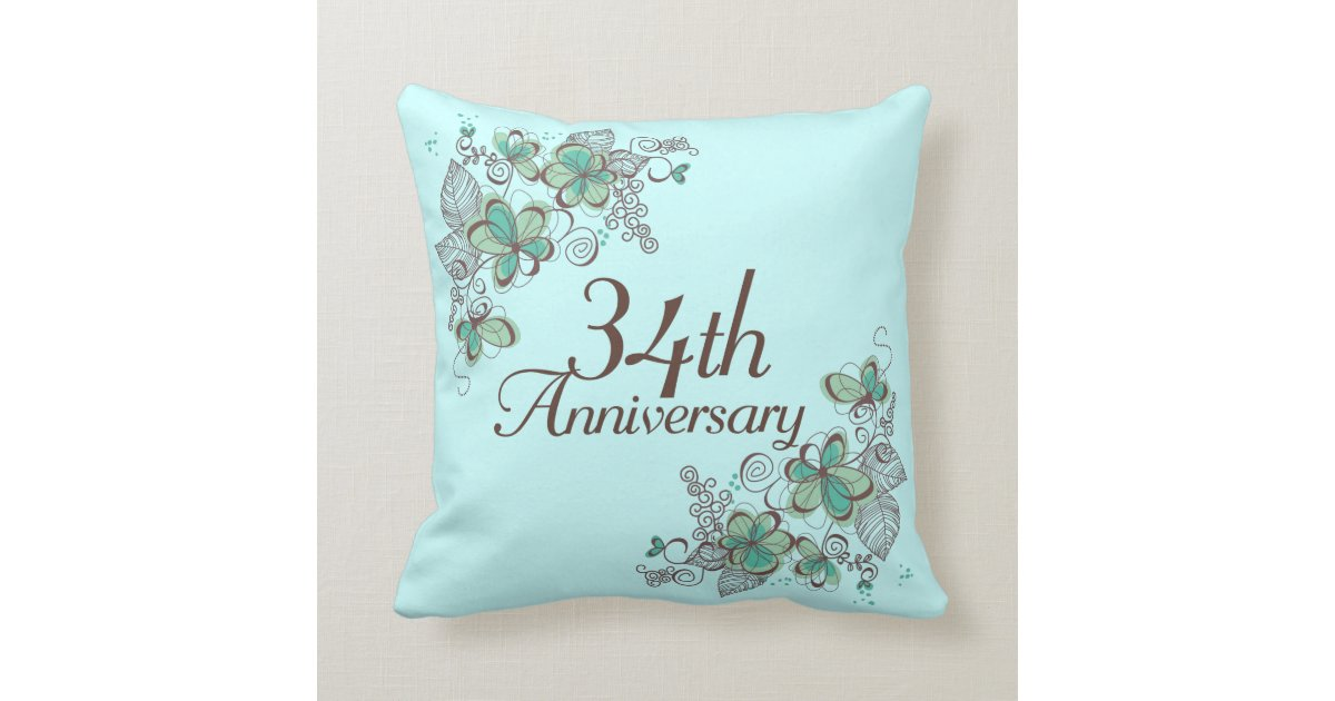 34th Wedding Anniversary Gifts: 34th Anniversary Gift Throw Pillow