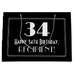 "[ Thumbnail: 34th Birthday: Art Deco Inspired Style ""34"", Name Gift Bag ]"