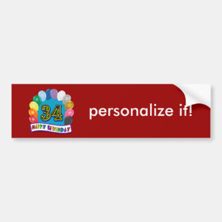 34th Birthday Balloons Design Bumper Sticker