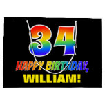 [ Thumbnail: 34th Birthday: Bold, Fun, Simple, Rainbow 34 Gift Bag ]