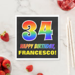 [ Thumbnail: 34th Birthday: Bold, Fun, Simple, Rainbow 34 Napkins ]