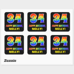 [ Thumbnail: 34th Birthday: Bold, Fun, Simple, Rainbow 34 Sticker ]