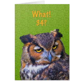 34th Birthday Card with Great Horned Owl Bird