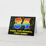 [ Thumbnail: 34th Birthday: Colorful Music Symbols & Rainbow 34 Card ]