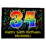 [ Thumbnail: 34th Birthday - Colorful Music Symbols, Rainbow 34 Gift Bag ]